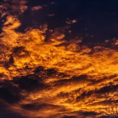 Abstract Orange Black Sunset Clouds Magic Photo Cubes