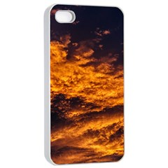 Abstract Orange Black Sunset Clouds Apple iPhone 4/4s Seamless Case (White)