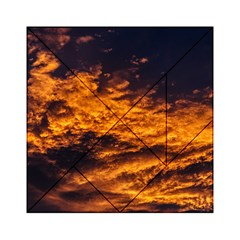 Abstract Orange Black Sunset Clouds Acrylic Tangram Puzzle (6  x 6 )