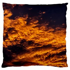Abstract Orange Black Sunset Clouds Large Cushion Case (One Side)