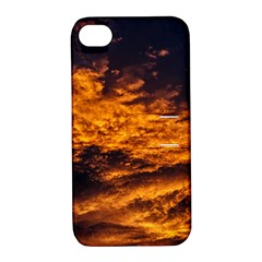 Abstract Orange Black Sunset Clouds Apple iPhone 4/4S Hardshell Case with Stand