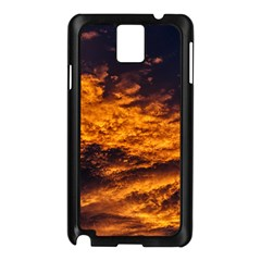 Abstract Orange Black Sunset Clouds Samsung Galaxy Note 3 N9005 Case (Black)