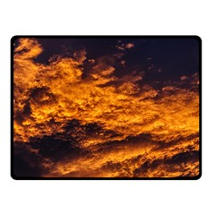 Abstract Orange Black Sunset Clouds Double Sided Fleece Blanket (Small)