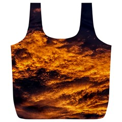 Abstract Orange Black Sunset Clouds Full Print Recycle Bags (L)