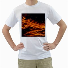 Abstract Orange Black Sunset Clouds Men s T Shirt (white)