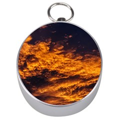 Abstract Orange Black Sunset Clouds Silver Compasses