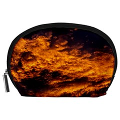 Abstract Orange Black Sunset Clouds Accessory Pouches (large)