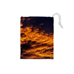 Abstract Orange Black Sunset Clouds Drawstring Pouches (Small)