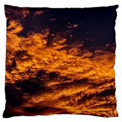 Abstract Orange Black Sunset Clouds Large Flano Cushion Case (Two Sides)