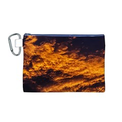 Abstract Orange Black Sunset Clouds Canvas Cosmetic Bag (m)