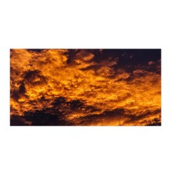 Abstract Orange Black Sunset Clouds Satin Wrap