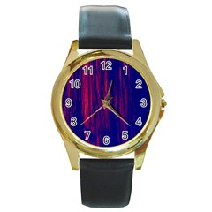 Abstract Color Red Blue Round Gold Metal Watch