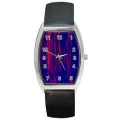 Abstract Color Red Blue Barrel Style Metal Watch