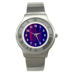 Abstract Color Red Blue Stainless Steel Watch