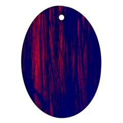 Abstract Color Red Blue Oval Ornament (two Sides)
