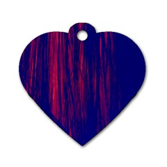 Abstract Color Red Blue Dog Tag Heart (two Sides)