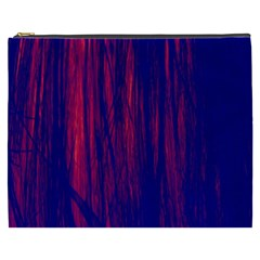 Abstract Color Red Blue Cosmetic Bag (XXXL)