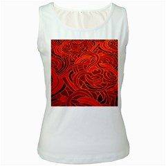 Orange Abstract Background Women s White Tank Top