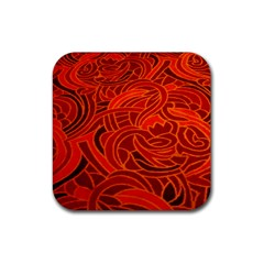 Orange Abstract Background Rubber Coaster (square)