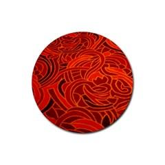 Orange Abstract Background Rubber Coaster (Round)