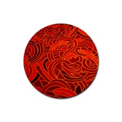 Orange Abstract Background Rubber Round Coaster (4 pack)