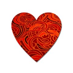 Orange Abstract Background Heart Magnet