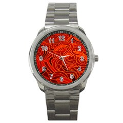 Orange Abstract Background Sport Metal Watch