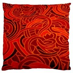 Orange Abstract Background Large Flano Cushion Case (One Side)
