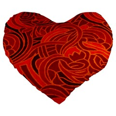 Orange Abstract Background Large 19  Premium Flano Heart Shape Cushions