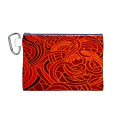 Orange Abstract Background Canvas Cosmetic Bag (m)