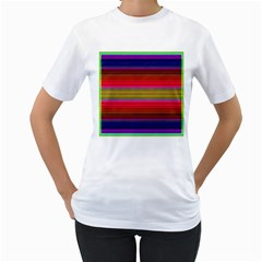 Fiesta Stripe Bright Colorful Neon Stripes Cinco De Mayo Background Women s T-Shirt (White) (Two Sided)