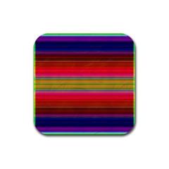 Fiesta Stripe Bright Colorful Neon Stripes Cinco De Mayo Background Rubber Coaster (square)