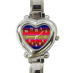 Fiesta Stripe Bright Colorful Neon Stripes Cinco De Mayo Background Heart Italian Charm Watch