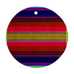 Fiesta Stripe Bright Colorful Neon Stripes Cinco De Mayo Background Round Ornament (Two Sides)