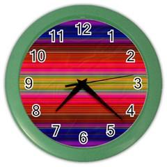 Fiesta Stripe Bright Colorful Neon Stripes Cinco De Mayo Background Color Wall Clocks