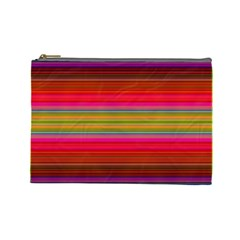Fiesta Stripe Bright Colorful Neon Stripes Cinco De Mayo Background Cosmetic Bag (large)