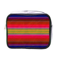 Fiesta Stripe Bright Colorful Neon Stripes Cinco De Mayo Background Mini Toiletries Bags