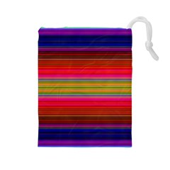 Fiesta Stripe Bright Colorful Neon Stripes Cinco De Mayo Background Drawstring Pouches (Large)