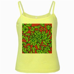 Big Growth Abstract Floral Texture Yellow Spaghetti Tank
