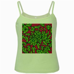 Big Growth Abstract Floral Texture Green Spaghetti Tank