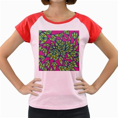 Big Growth Abstract Floral Texture Women s Cap Sleeve T-Shirt