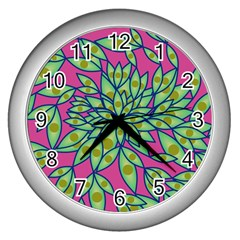 Big Growth Abstract Floral Texture Wall Clocks (silver)