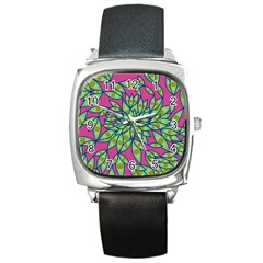 Big Growth Abstract Floral Texture Square Metal Watch