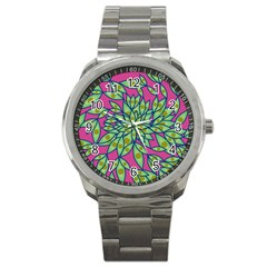 Big Growth Abstract Floral Texture Sport Metal Watch