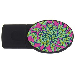 Big Growth Abstract Floral Texture USB Flash Drive Oval (4 GB)