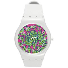 Big Growth Abstract Floral Texture Round Plastic Sport Watch (M)