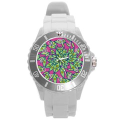 Big Growth Abstract Floral Texture Round Plastic Sport Watch (l)
