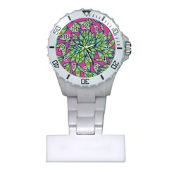Big Growth Abstract Floral Texture Plastic Nurses Watch