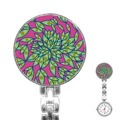 Big Growth Abstract Floral Texture Stainless Steel Nurses Watch