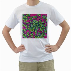 Big Growth Abstract Floral Texture Men s T-Shirt (White)